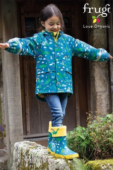 Frugi Blue Recycled Waterproof Lined Coat