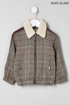 River Island Brown Check With Borg Collar Trucker Jacket