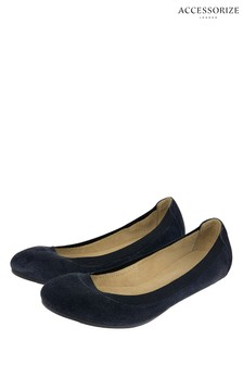 Accessorize Blue Elasticated Suede Ballerina