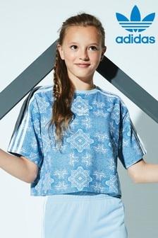 adidas Originals Printed Blue Trefoil Crop Top