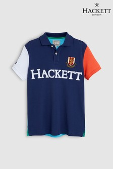 Hackett Kids Blue Multi Short Sleeve Polo