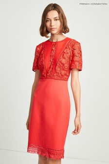 French Connection Red Viola Lula Lace Jersey Dress