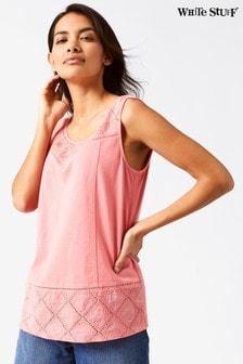 White Stuff Pink Locket Embroidered Jersey Vest