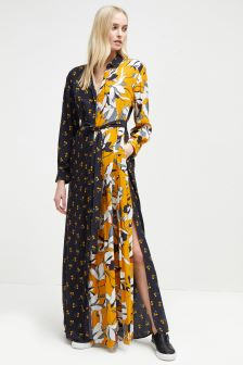 French Connection Yellow Aventine Drape Maxi Shirt Dress