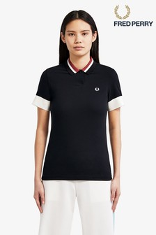 Fred Perry Black Bold Tipped Pique Poloshirt