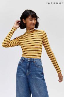 Warehouse Mustard Stripe Rib Long Sleeve Top