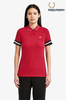 Fred Perry Burgundy Tipped Piqué Poloshirt
