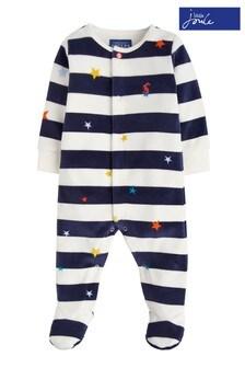 Joules Navy Star Stripe Velour Babygrow