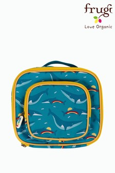 Frugi Blue Recycled Whale Print Lunch Bag With Pocket