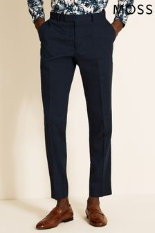 Moss London Skinny Fit Navy Linen Trouser