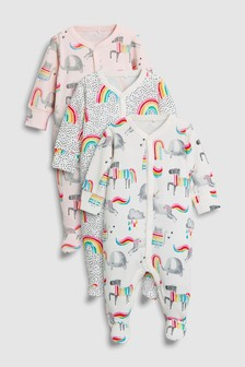 Unicorn/Rainbow Sleepsuits Three Pack (0mths-2yrs)