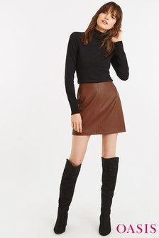 Oasis Tan Faux Leather Mini Skirt 3571cbf15
