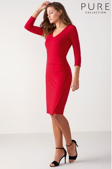 Pure Collection Red V-Neck Jersey Wrap Dress