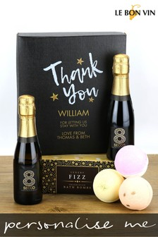 Personalised Thank You Prosecco And Bath Bomb Gift Box by Le Bon Vin