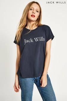 חולצת טי עם הדפס Boyfriend של Jack Wills דגם Forstal בצבע נייבי