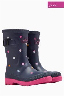 Joules Girls Blue Acorn Dot Printed Welly