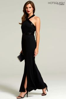 HotSquash Black Halter Neck Maxi Evening Gown With Sequins