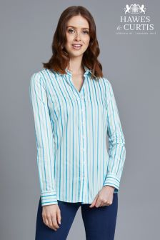 Hawes And Curtis Blue Semi Fitted Stripe Shirt
