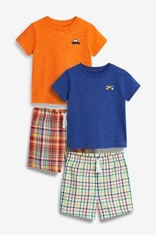 Два пижамных комплекта с ткаными брюками в клетку (9 мес. - 8 лет)