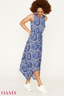 Oasis Blue Paisley Hanky Hem Midi Dress