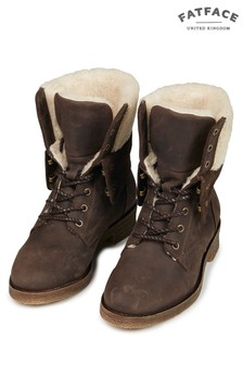 FatFace Brown Cara Shearling Lace-Up Boot