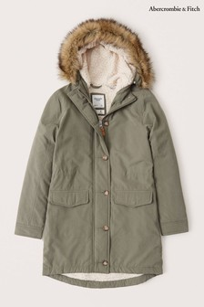 Abercrombie & Fitch Sherpa Fleece Military Parka