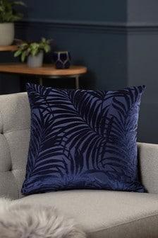 Navy Blue Palm Velvet Square Cushion