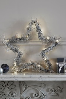 XL Lit Glitter Star Wreath
