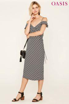 Oasis Black Stripe Ruffle Wrap Midi Dress