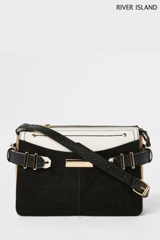 River Island Black Buckle Tab Side Cross Body Bag
