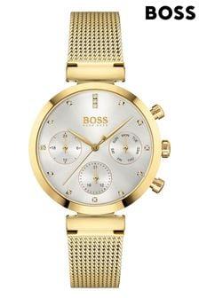 BOSS Flawless Gold IP Mesh Strap Watch