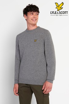 Lyle & Scott Mid Grey Marl Crew Neck Lambswool Blend Jumper