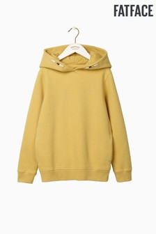 FatFace Yellow Popover Plain Broderie Hoody