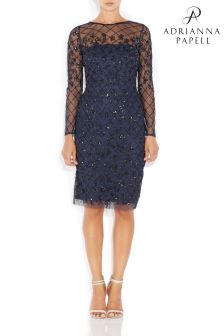 Adrianna Papell Blue Short Beaded Dress