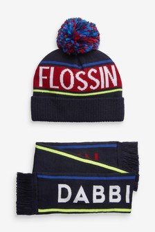 Flossin Dabbin Hat And Scarf Two Piece Set (Older)