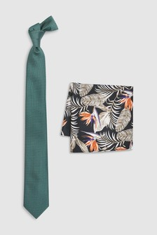 Tie With Hawaiian Style Pocket Square