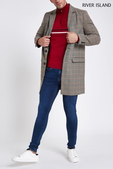 River Island Brown Check Overcoat