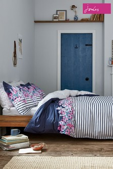 Joules Garden Border Stripe Floral Cotton Duvet Cover