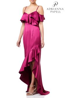 Adrianna Papell Ruffled Satin Gown