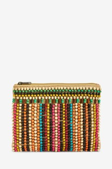Canvas Beaded Clutch