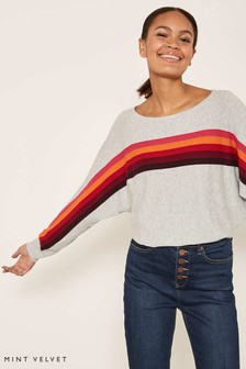 Mint Velvet Grey Multi Stripe Rainbow Batwing Jumper