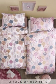 2 Pack Pretty Trees Duvet Cover And Pillowcase Set