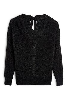 סוודר בסריגת דלוקס עם קשירה בגב