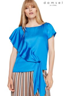 Damsel In A Dress Blue Pia Asymmetric Blouse