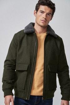 Полушерстяная куртка с меховым воротником из овчины