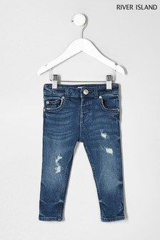 River Island Jeans in Used-Optik, mittelblau