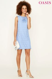 Oasis Blue Daisy Lace A-Line Dress