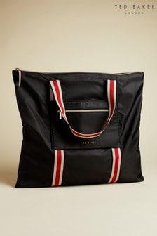 Ted Baker Black Sedonah Branded Webbing Nylon Foldaway Shopper