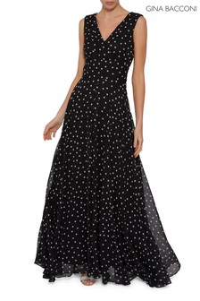 Gina Bacconi Black Calandra Spot Chiffon Maxi Dress