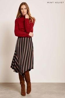 Mint Velvet Blue Striped Skirt
